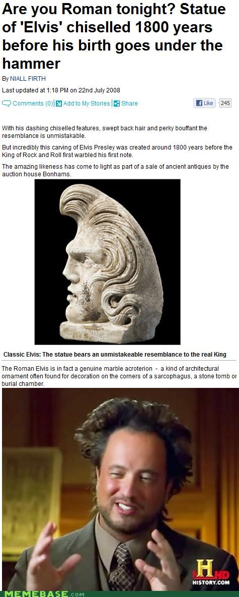 ancient aliens,birth,building,Elvis,roman,statue