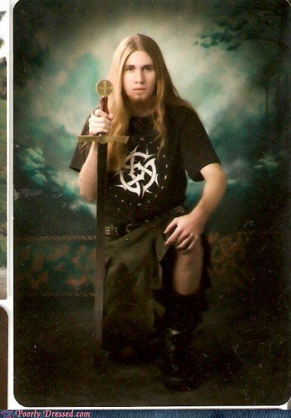 goth,kilt,school photo,sword,yearbook