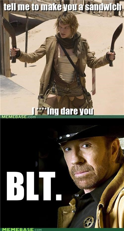 chuck norris,Memes,power,Reframe,sandwich,shows,women