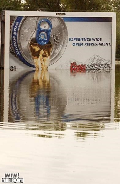 accidental advertising beer flood hacked lake sign - 5185143552
