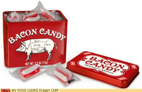 bacon candy sweets tin