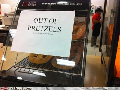 food service lies pretzels sign