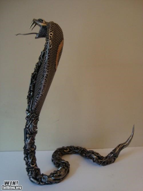 art,cobra,design,junk,scrap metal,sculpture,snake