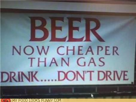 beer drink drive gas sign