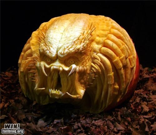 alien,art,carving,halloween,horror,nerdgasm,perdator,pumpkins
