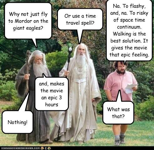 Why not just fly to Mordor on the giant eagles? Or use a time travel spell? Na. To flashy, and, na. To risky of space time continuum. Walking is the best solution. It gives the movie that epic feeling. and, makes the movie an epic 3 hours What was that? Nothing!