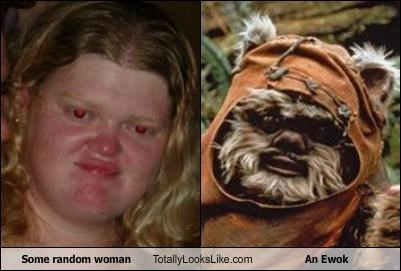 duck face,ewok,random person,random woman,star wars