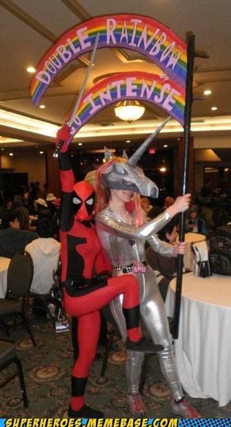 deadpool double rainbow Sexy Ladies Super Costume - 5189370880