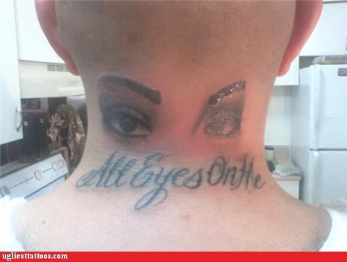 all eyes on the creepy neck tattoos
