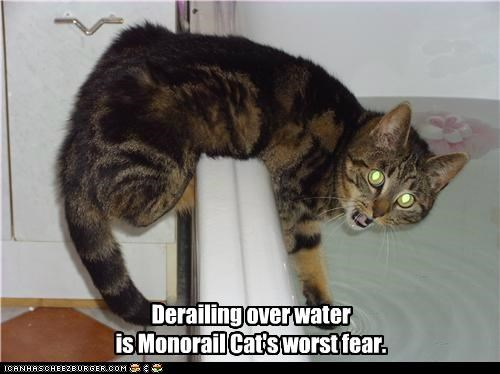 Derailing over water is Monorail Cat's worst fear.