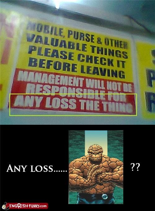ben grimm,comic book,Fantastic Four,lost,nerdgsam,sign,The Thing,warning