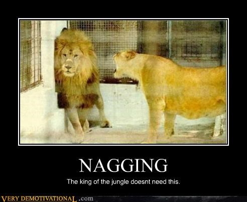 NAGGING The king of the jungle doesnt need this.