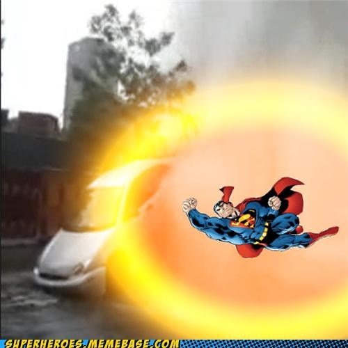 car,explosion,punch,Random Heroics,superman,wtf