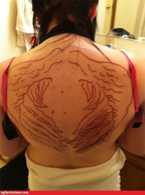 back tattoos poorly drawn wings - 5192205312