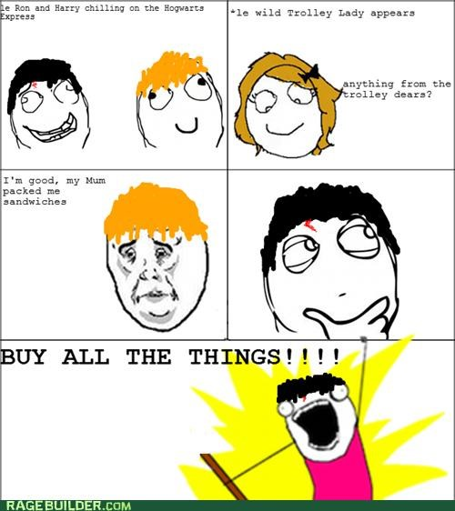 all the things Harry Potter Rage Comics trolley