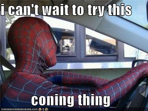 coning,drive thru,hair,mask,Spider-Man,Super-Lols