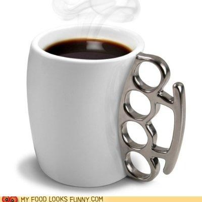 brass knuckles coffee cup handle mug punch - 5194619392