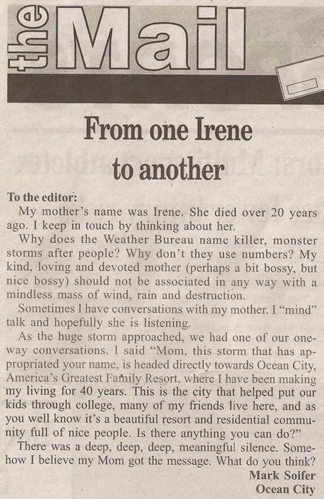 Deep Deep Meaningful Sile,hurricane irene,Letter To The Editor