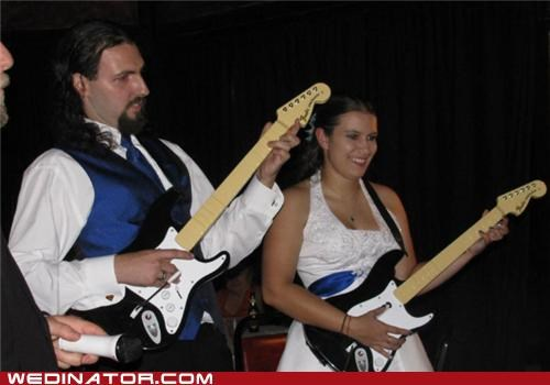 bride,funny wedding photos,groom,guitars,rockband