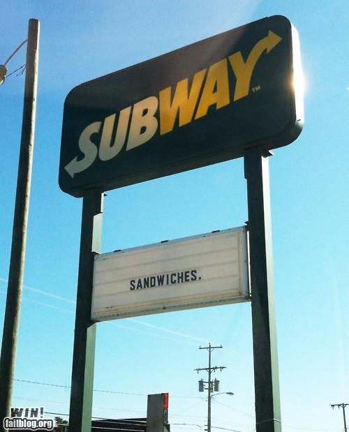 Does What It Says lunch sandwich self explanatory sign simple Subway - 5195499776