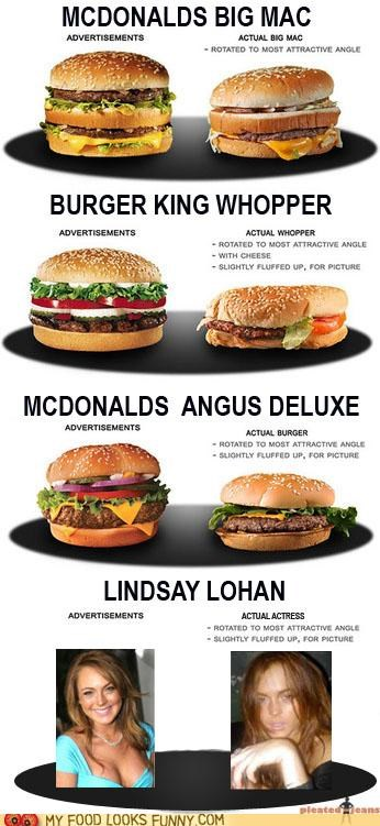 advertising burgers lindsay lohan reality ugly - 5195714560