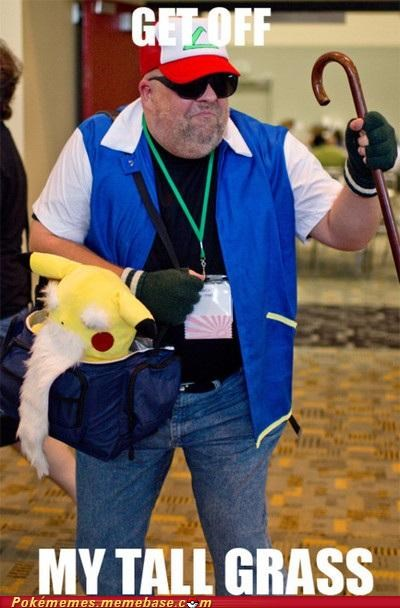 aging,ash,cosplay,Memes,off my tall grass,pikachu