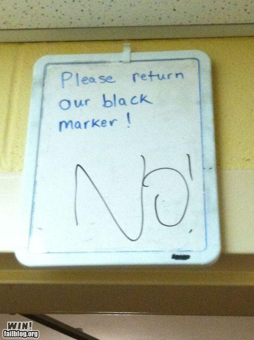 defiant dry erase marker Office sign theft white board work - 5195959808