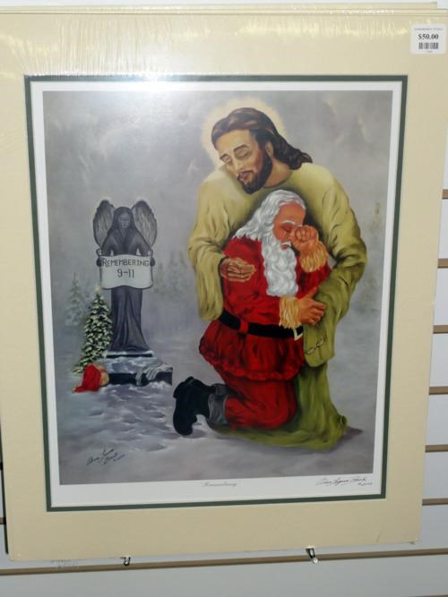 911,Fan Art,fran-lagana-brooks,jesus,santa,Weeping Santa