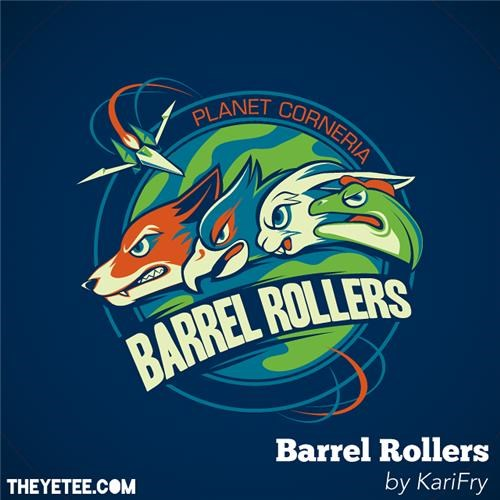 barrel rollers,merch,Star Fox,tee of the day,the yetee,video games