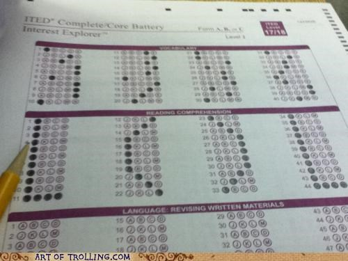 bubbles,lol,multiple choice,test