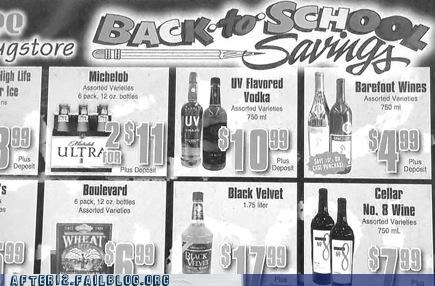 back to school,booze,fun,learning,sale,savings