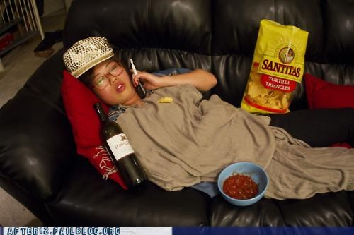 chips,couch,essentials,passed out,salsa,wine