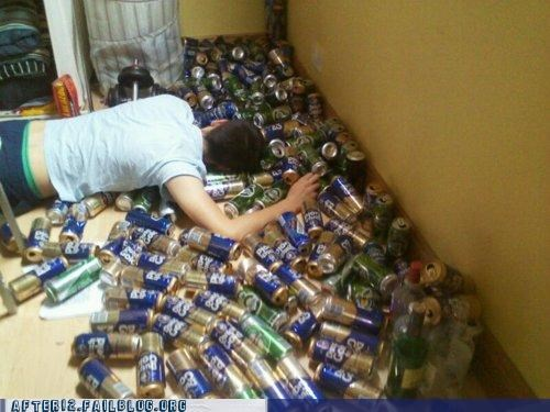 beer can drunk floor passed out thousands of them winner