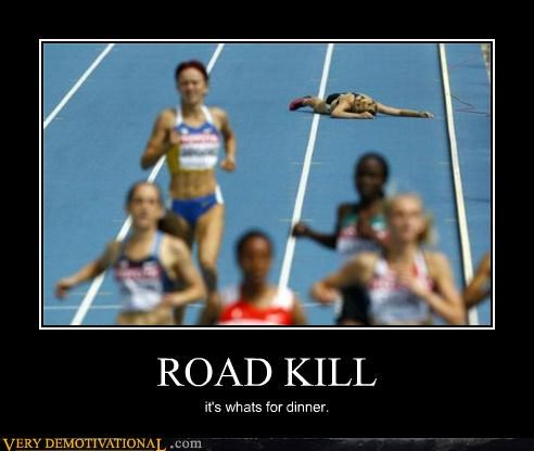 hilarious,race,road kill,tripped