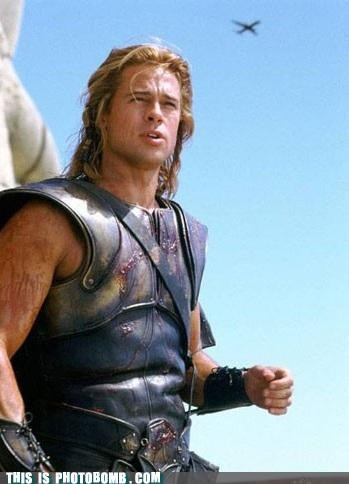 brad pitt movie gaffe plane state of the art troy