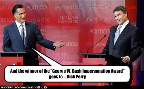 Debates,george w bush,impressions,Mitt Romney,politicians,Pundit Kitchen,Republicans,Rick Perry