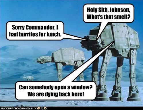Holy Sith, Johnson, What's that smell? Sorry Commander, I had burritos for lunch. Can somebody open a window? We are dying back here!