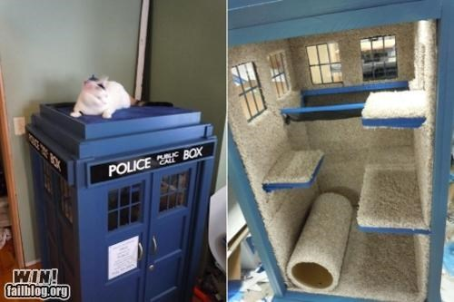 cat cat tree DIY doctor who Hall of Fame nerdgasm pets tardis - 5199551232