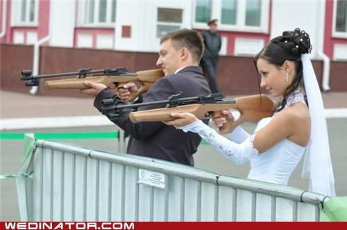 bride funny wedding photos groom guns - 5199664896