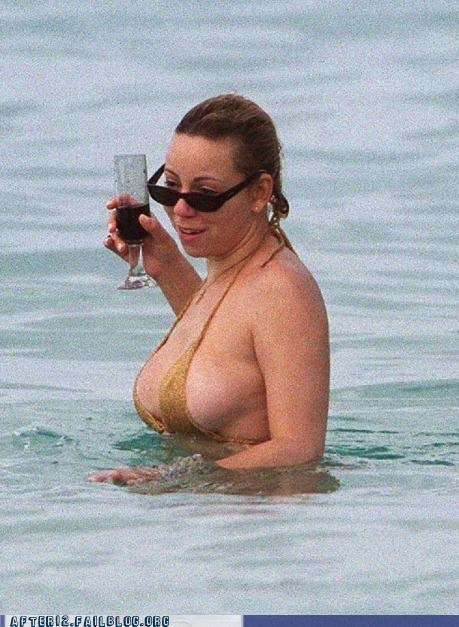 beach,bewbs,booze,drowning,drunk,flotation device,mariah carey,swimming