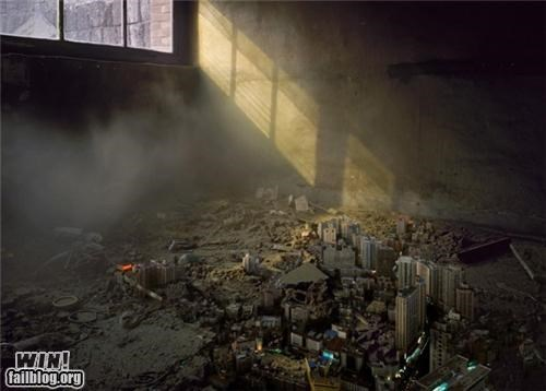 apocalypse art Brother Nature FTW city installation model photoshop small urban urban decay