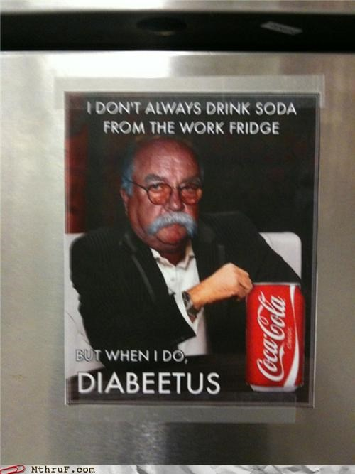 breakroom diabeetus meme sign soda