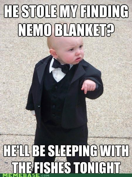 Baby Godfather,best of week,blanket,cement,finding nemo,fish,sleeping,slippies