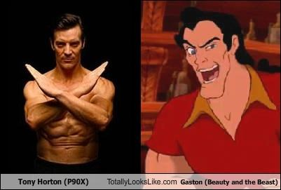 Beauty and the Beast cartoons disney fitness Gaston muscles p90x tony horton - 5200163584