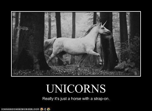 UNICORNS Really it's just a horse with a strap-on.