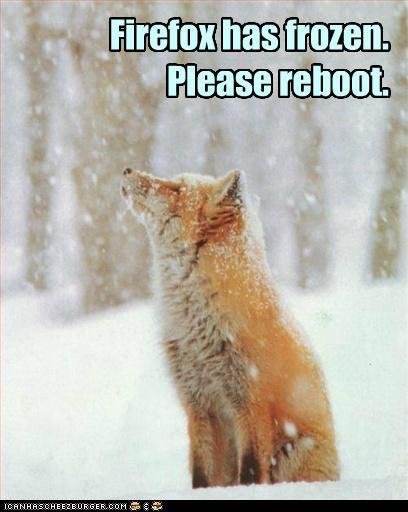 Firefox has frozen. Please reboot.