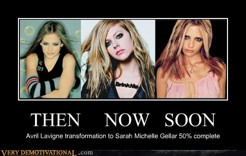 THEN NOW SOON Avril Lavigne transformation to Sarah Michelle Gellar 50% complete