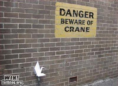 classic,crane,joke,literal,literalism,origami,paper crane,prank,sign