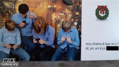 card,distracted,family,family photo,holiday,Modern Family,phone,technology,texting