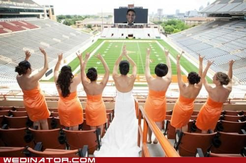 bride,bridesmaids,football,funny wedding photos,groom,stadium
